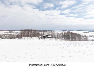Shikisai-no-oka Farm in the winter, Hokkaido, Japan