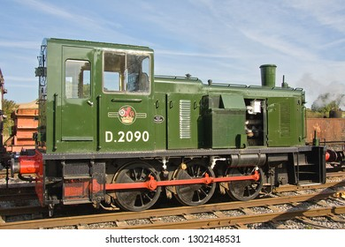 SHILDON, COUNTY DURHAM, UK - OCTOBER 8, 2012: Class 03 Shunter No. 2090 (03090) stands in the yard at NRM 'Locomotion' Shildon.