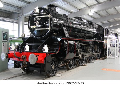 SHILDON, COUNTY DURHAM, UK - OCTOBER 8, 2012: LMS Stanier Class 5 No. 5000, built at the Vulcan Foundry in Crewe in 1935, stands on display at the NRM 'Locomotion' Shildon.