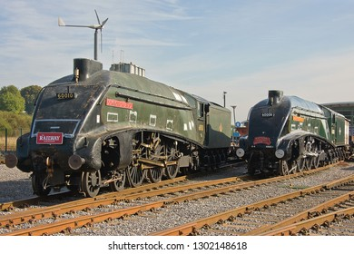 SHILDON, COUNTY DURHAM, UK - OCTOBER 8, 2012: LNER A4 Pacific No's. 60010 'Dominion of Canada' and 60008 'Dwight D. Eisenhower' stand in the yard at the NRM 'Locomotion' Shildon.