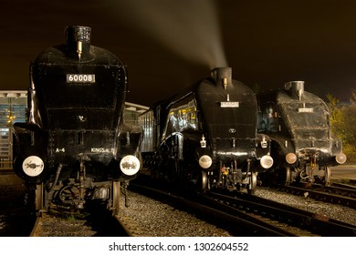 SHILDON, COUNTY DURHAM, UK - OCTOBER 20, 2012: A lineup of LNER A4 Pacific's at the NRM Shildon, with Nos. 60008 'Dwight D. Eisenhower',  60009 'Union of South Africa', and 60010 'Dominion of Canada'.