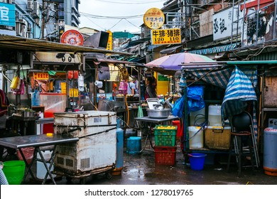 Shilin Night Market, Taipei, Taiwan, Republic of China - December 23, 2018 :  Side streets of the markets by day