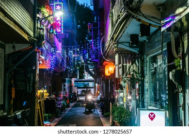 Shilin Night Market, Taipei, Taiwan, Republic of China - December 23, 2018 :  Backstreets of Taipei, Jiantan
