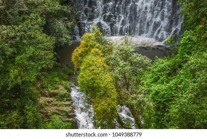 Shillong, Meghalaya, India. Gushing waterfall and colorful flowers and plants during monsoon season in Shillong, Meghalaya, India.