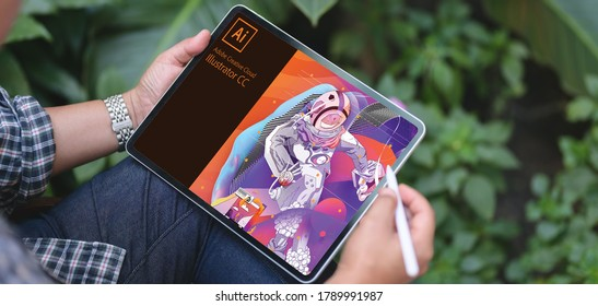 Shillong,,Meghalaya,India - August 5, 2020: Adobe Illustrator, software loading screen on a pad for editing vector graphics.
