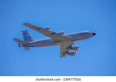Shiloh, IL—June 10, 2017; Boeing KC-135R Stratotanker with Illinois Air National Guard unit markings and raised landing gear makes low level fly-by pass