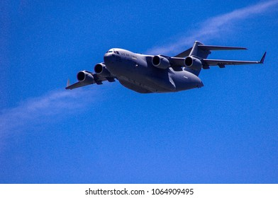 Shiloh, IL—June 10, 2017 military cargo plane makes flyby during airshow