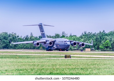 Shiloh, IL—June 10, 2017; military transport aircraft prepares for takeoff