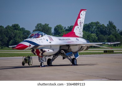 Shiloh, IL—June 10, 2017 red white and blue flight demonstration aircraft is parked prior to an airshow