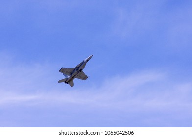 Shiloh, IL—June 10, 2017 United States Navy jet fighter plane takes off
