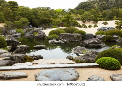 SHIMANE, JAPAN April 2018.Japanese garden of Adachi Museum. This garden has won the Journal of Japanese Gardening's award for best garden every year since 2003 is number 1 Japanese garden in the world