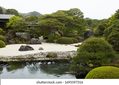 SHIMANE, JAPAN April 2018.Japanese garden of Adachi Museum.This garden has won the Journal of Japanese Gardening's award for best garden every year since 2003 is number 1 Japanese garden in the world.
