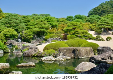 SHIMANE, JAPAN - AUGUST 12: Japanese garden of Adachi Museum on August 12, 2013. During 10 consecutive years (2003-2012), selected as No. 1 Japanese garden by The Journal of Japanese Gardening.