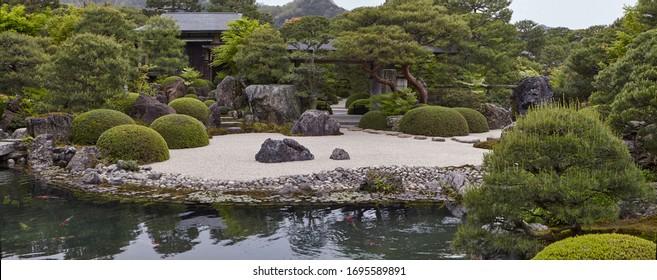 SHIMANE,JAPAN April 2018 Japanese garden of Adachi Museum This garden has won the Journal of Japanese Gardening's award for best garden every year since 2003 is considered the best garden in the world