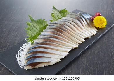 Shime Saba (raw mackerel salted and marinated in vinegar)