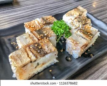 Shime Sanma oshizushi , Japanese  Cured Pacific saury pressed sushi