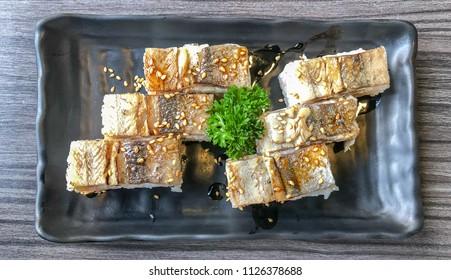 Shime Sanma oshizushi , Japanese  Cured Pacific saury pressed sushi - Flat lay