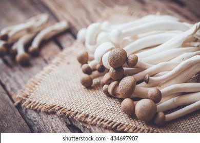 shimeji mushrooms on sackcloth and wooden background