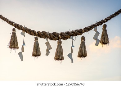 Shimenawa or enclosing rope in shinto religion