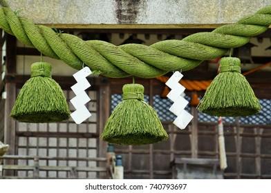 Shimenawa rope on japanese shrine gates in Toyama Prefecture, Japan