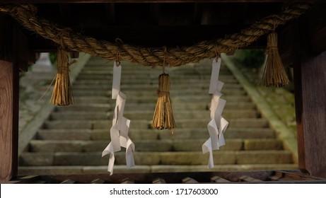 shimenawa (sacred shinto rope) in a shrine, Japan