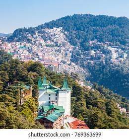 Shimla city aerial panoramic view. Shimla is the capital city of the Indian state of Himachal Pradesh, located in northern India.