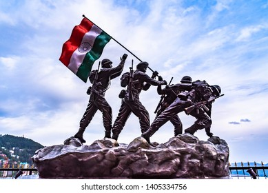 Shimla, India- April 2019: Statue of Indian army soldiers in Shimla, Himachal Pradesh, India.