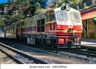 SHIMLA, INDIA, February-2018 : Toy train Kalka-Shimla route, standing on railway station of the hill state Himachal Pradesh, India.
