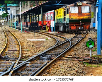 Shimla, India - January 25 2020:Toy train arriving the station in Shimla. This toy train ride is one of India's most incredible feats of engineering.