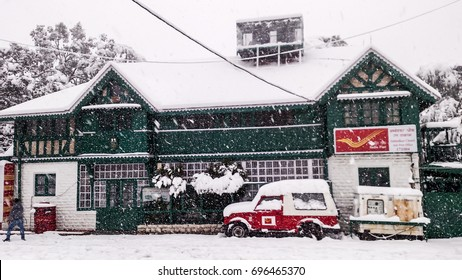 SHIMLA, INDIA - JANUARY 7, 2017: Snow fall in front of Indian post office in mountains in India..