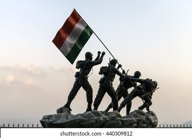 SHIMLA, INDIA - Jun 03, 2016: Statue of Indian soldiers planting the national flag, located at Shimla district.
