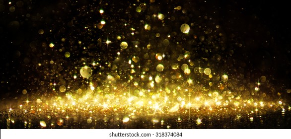 Shimmer Of Golden Glitter On Black - holiday christmas background