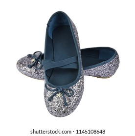 Shimmer silver blue ballerina flat shoes with crossed elastic drawstrings - isolated on white