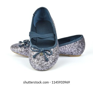 Shimmer silver blue ballerina flat shoes with crossed elastic drawstrings on white background