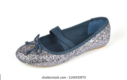 Shimmer silver blue ballerina flat shoe with a small bow and with crossed elastic drawstrings on white