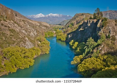 Shimmering blue water of Kawarau river near Queenstown, New Zealand
