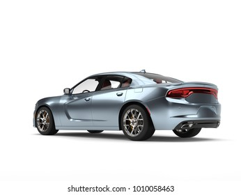 Shimmering metallic blue modern fast car - tail view - 3D Illustration