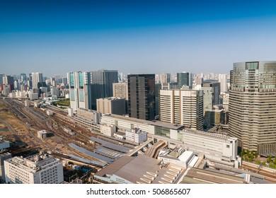 Shinagawa station and skyline, Tokyo.