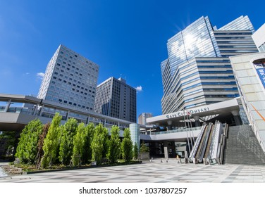 "SHINAGAWA, TOKYO / JAPAN - AUGUST 7 2016 : Redevelopment facility ""Gate City Osaki"" near Shinagawa Ward, JR Osaki Station. There are offices and commercial facilities."