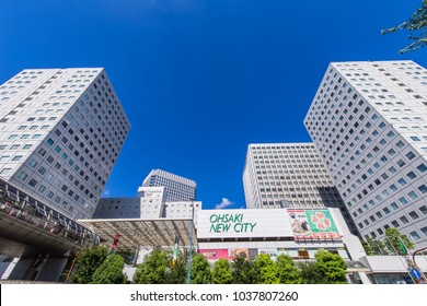 "SHINAGAWA, TOKYO / JAPAN - AUGUST 7 2016 : ""Osaki New City"" redevelopment facility near Shinagawa Ward, JR Osaki Station. There are offices, hotels and commercial facilities."