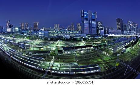 Shinagawa, Tokyo, Japan. Night View on Shinagawa district across track field at night.