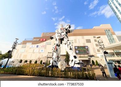 Shinagawa, Tokyo, Japan -  November 29,  2017 Unicorn Gundam RX-0 at Diver city Tokyo plaza is landmark of Odaiba.