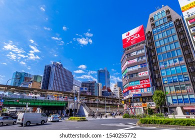 SHINAGAWA, TOKYO / JAPAN - OCTOBER 9 2019 : The scenery in front of Gotanda Station. This area is lined with commercial facilities and office buildings.