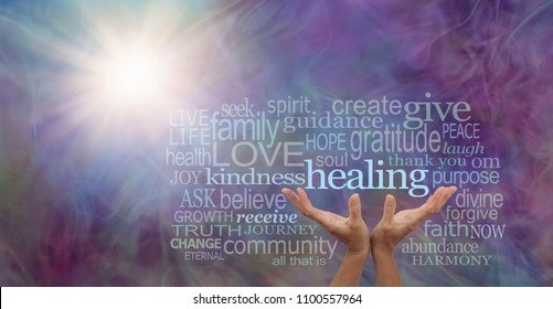 Shine your healing light word cloud - female hands reaching up to the word HEALING surrounded by a relevant word cloud with a sun burst and wispy multi colored energy field background