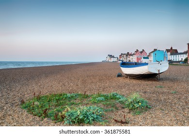 The shingle beach and pretty seaside town of Aldeburgh on the Suffolk coast
