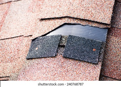 Shingle that has been damaged and needing replacement