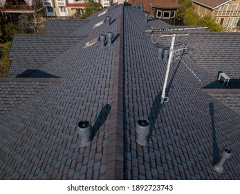 Shingles texture - close up view of asphalt roofing shingles