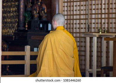Shingon Buddhist monk praying in temple at Koyasan, Wakayama prefecture of Japan