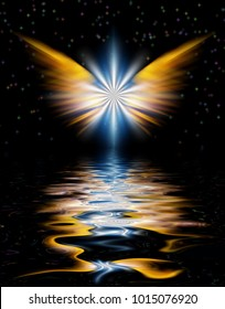 Shining Angel Wings above water surface. 3D rendering