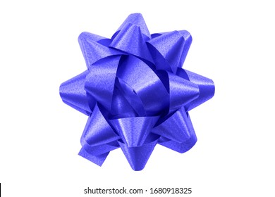 Shining anniversary gift and present decorating silky ornament concept with dark blue sleek polished glossy bow isolated on white background clipping path cutout